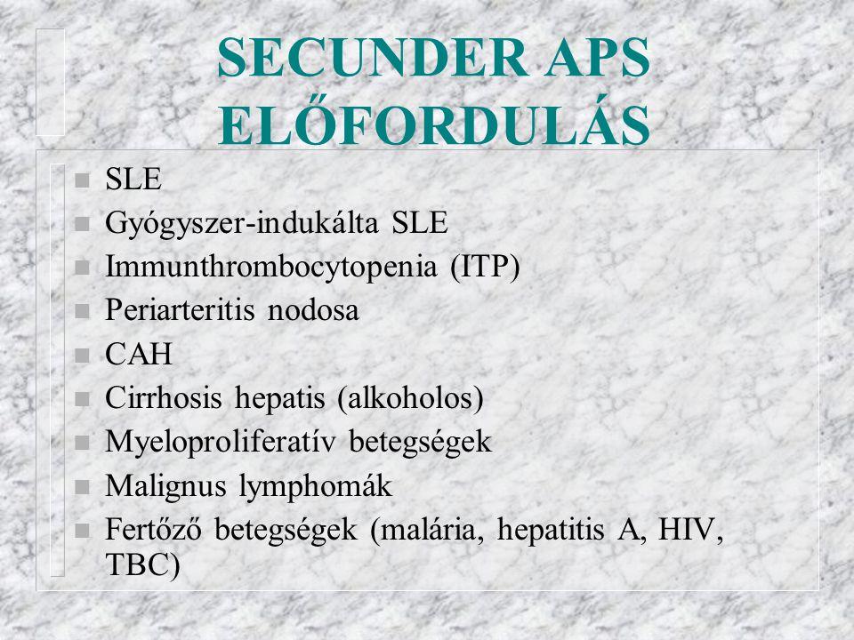 SECUNDER APS ELŐFORDULÁS n SLE n Gyógyszer-indukálta SLE n Immunthrombocytopenia (ITP) n Periarteritis nodosa n CAH n Cirrhosis hepatis (alkoholos) n Myeloproliferatív betegségek n Malignus lymphomák n Fertőző betegségek (malária, hepatitis A, HIV, TBC)