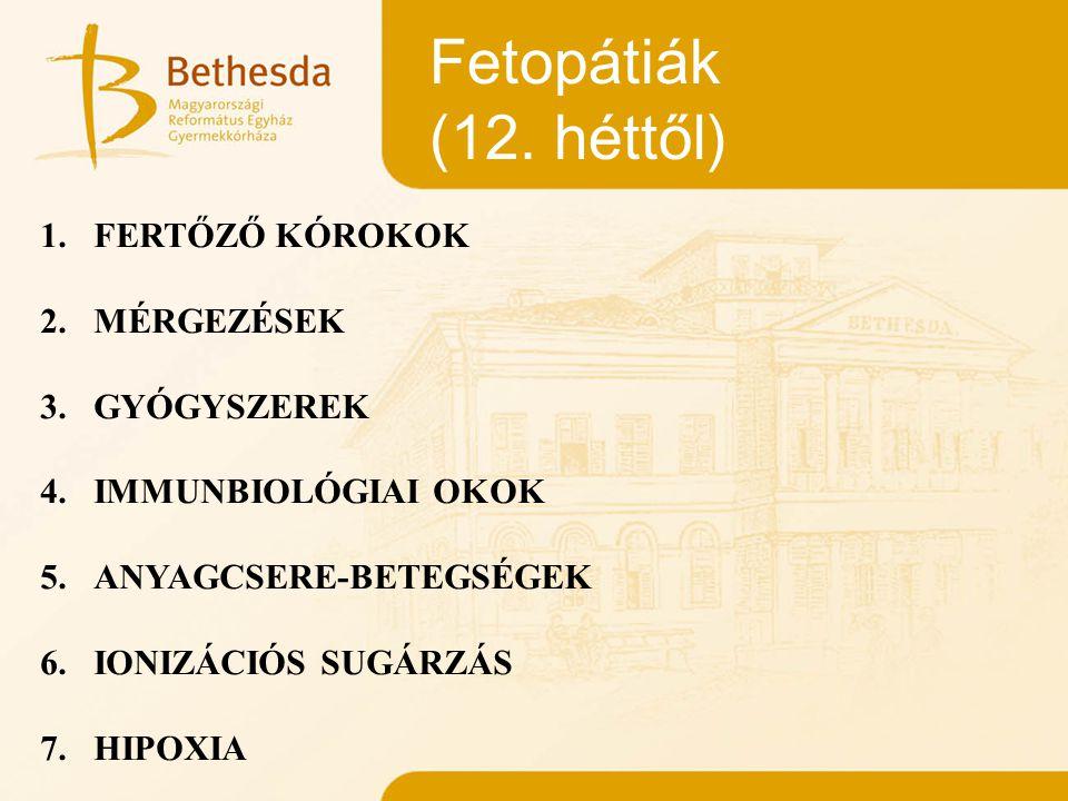 Fetopátiák (12. héttől) 1.FERTŐZŐ KÓROKOK 2. MÉRGEZÉSEK 3. GYÓGYSZEREK 4. IMMUNBIOLÓGIAI OKOK 5. ANYAGCSERE-BETEGSÉGEK 6.IONIZÁCIÓS SUGÁRZÁS 7. HIPOXI