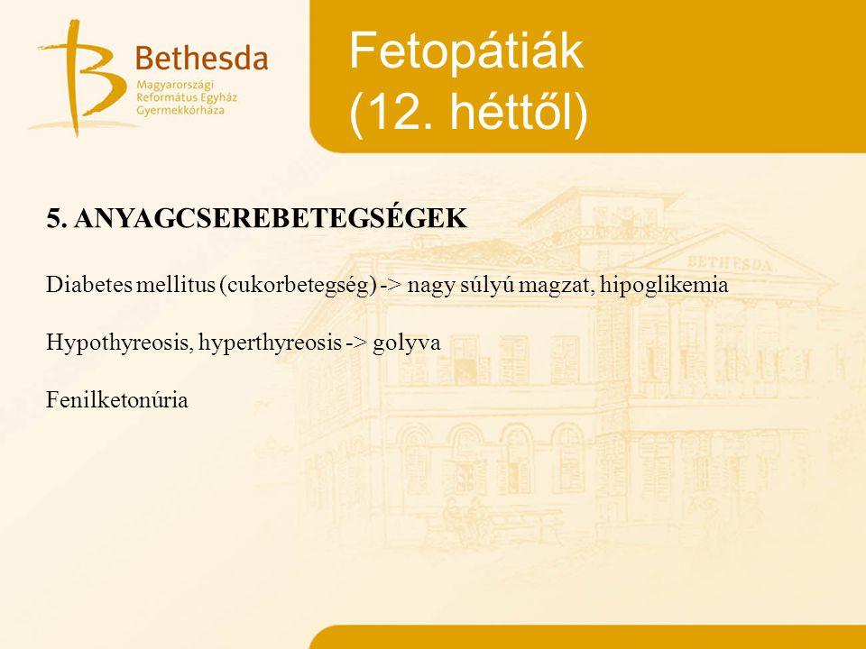 Fetopátiák (12. héttől) 5. ANYAGCSEREBETEGSÉGEK Diabetes mellitus (cukorbetegség) -> nagy súlyú magzat, hipoglikemia Hypothyreosis, hyperthyreosis ->