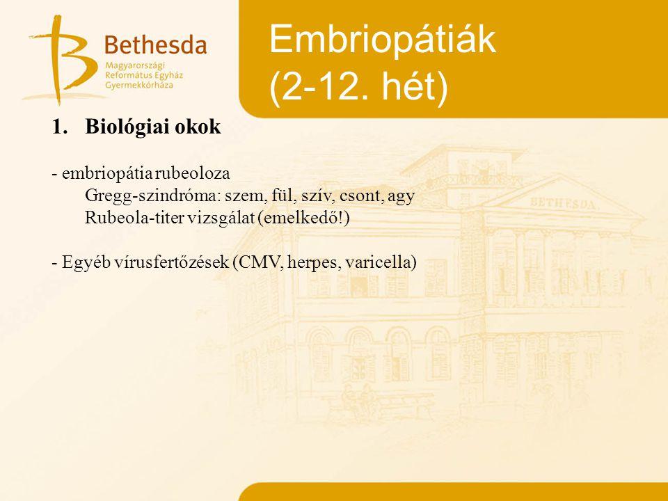 Embriopátiák (2-12. hét) 1.Biológiai okok - embriopátia rubeoloza Gregg-szindróma: szem, fül, szív, csont, agy Rubeola-titer vizsgálat (emelkedő!) - E