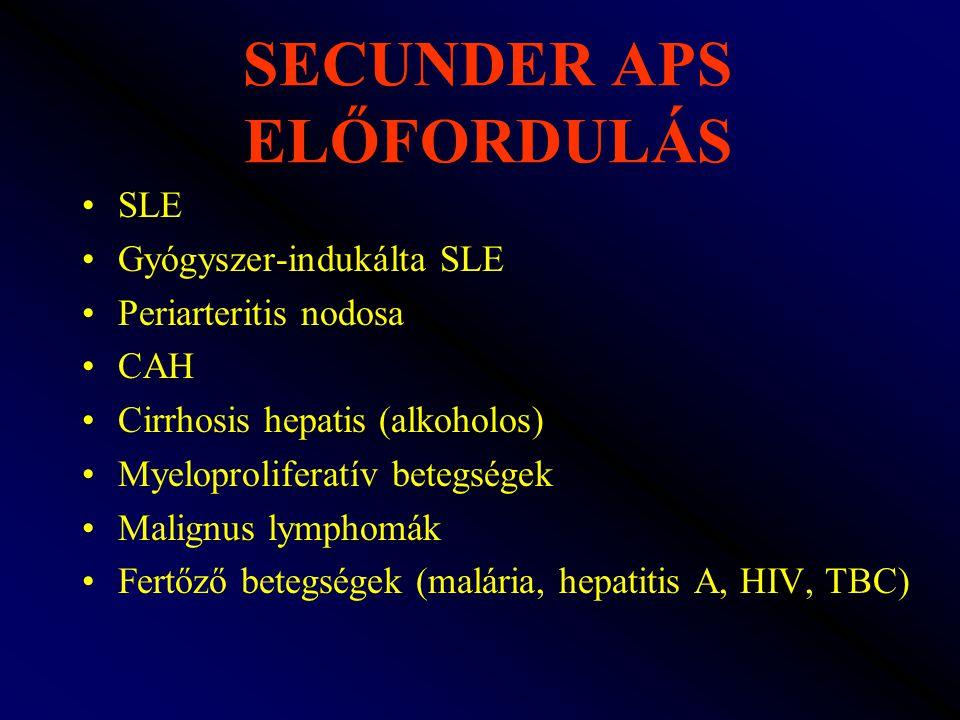 SECUNDER APS ELŐFORDULÁS SLE Gyógyszer-indukálta SLE Periarteritis nodosa CAH Cirrhosis hepatis (alkoholos) Myeloproliferatív betegségek Malignus lymp