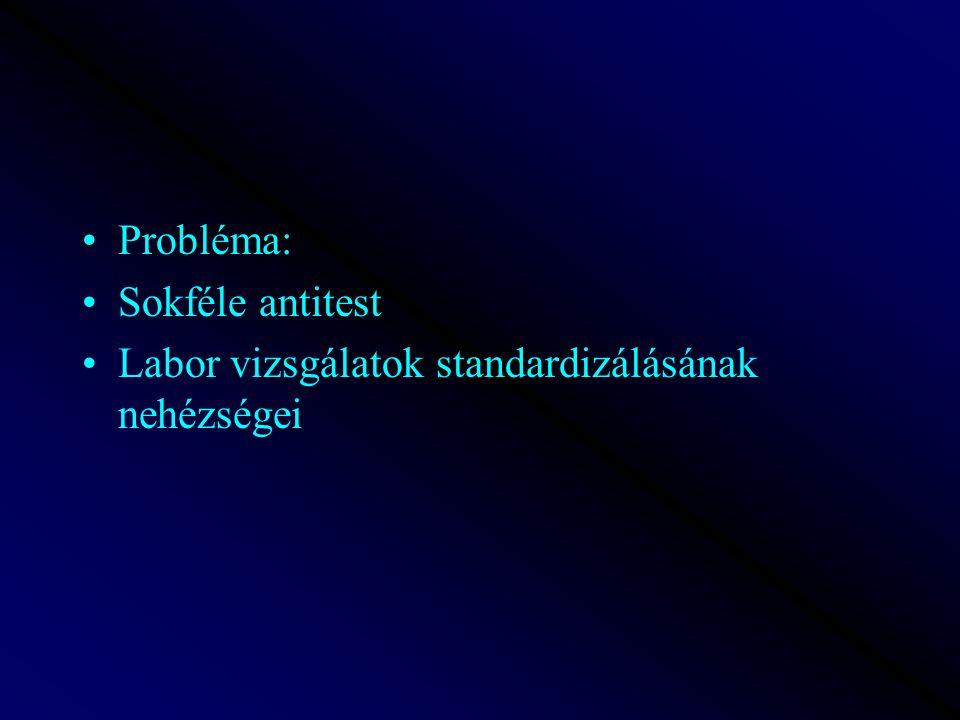 Probléma: Sokféle antitest Labor vizsgálatok standardizálásának nehézségei