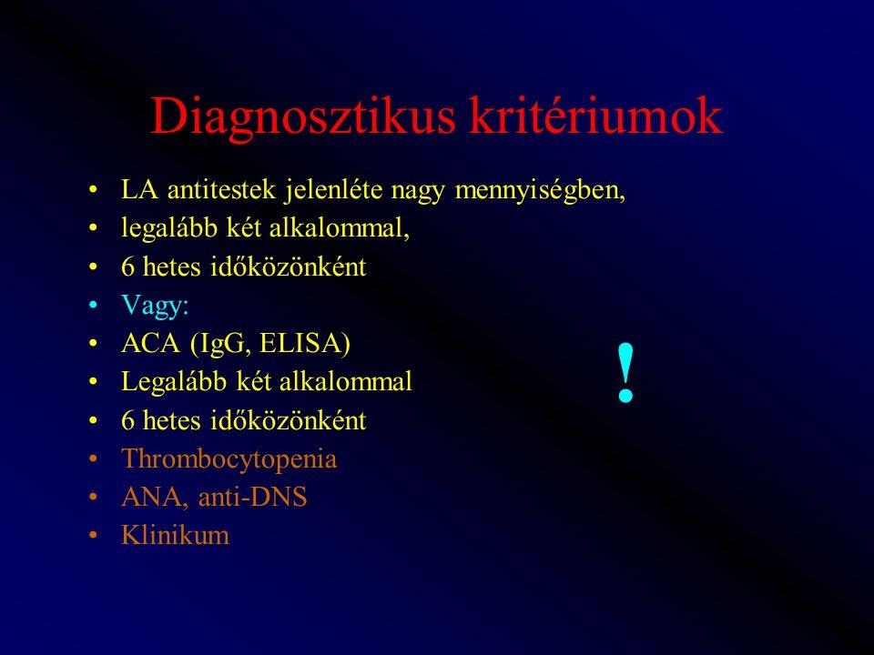 Diagnosztikus kritériumok LA antitestek jelenléte nagy mennyiségben, legalább két alkalommal, 6 hetes időközönként Vagy: ACA (IgG, ELISA) Legalább két