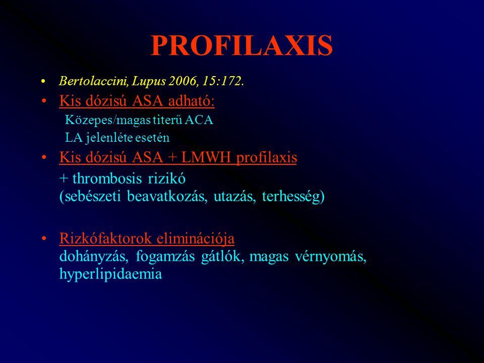 PROFILAXIS Bertolaccini, Lupus 2006, 15:172. Kis dózisú ASA adható: Közepes/magas titerű ACA LA jelenléte esetén Kis dózisú ASA + LMWH profilaxis + th