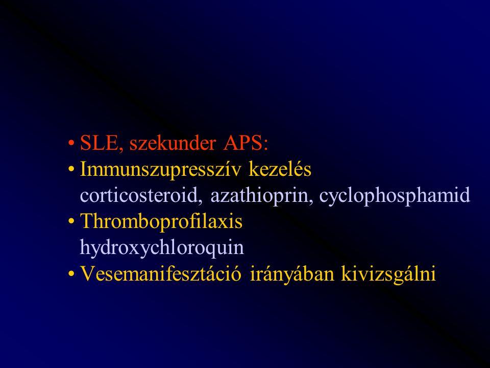 SLE, szekunder APS: Immunszupresszív kezelés corticosteroid, azathioprin, cyclophosphamid Thromboprofilaxis hydroxychloroquin Vesemanifesztáció irányá