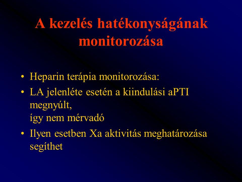 A kezelés hatékonyságának monitorozása Heparin terápia monitorozása: LA jelenléte esetén a kiindulási aPTI megnyúlt, így nem mérvadó Ilyen esetben Xa