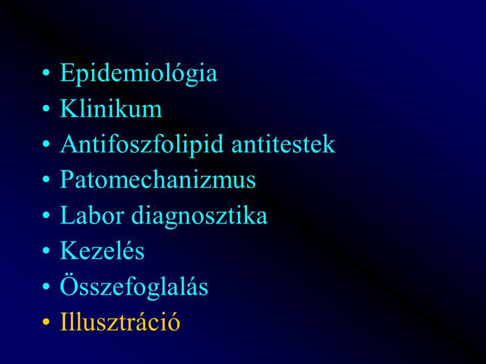 Epidemiológia Klinikum Antifoszfolipid antitestek Patomechanizmus Labor diagnosztika Kezelés Összefoglalás Illusztráció