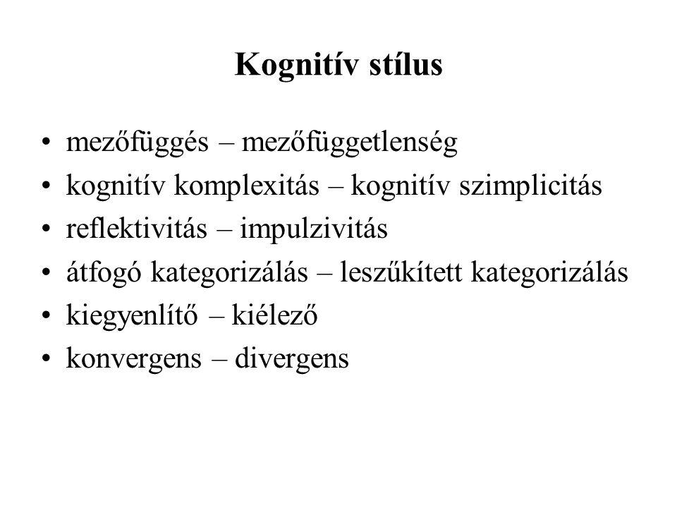 Kognitív stílus mezőfüggés – mezőfüggetlenség kognitív komplexitás – kognitív szimplicitás reflektivitás – impulzivitás átfogó kategorizálás – leszűkí