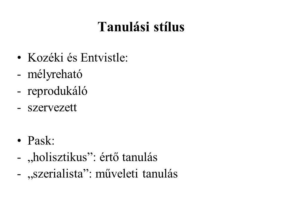 """Tanulási stílus Kozéki és Entvistle: - mélyreható -reprodukáló -szervezett Pask: -""""holisztikus"""": értő tanulás -""""szerialista"""": műveleti tanulás"""