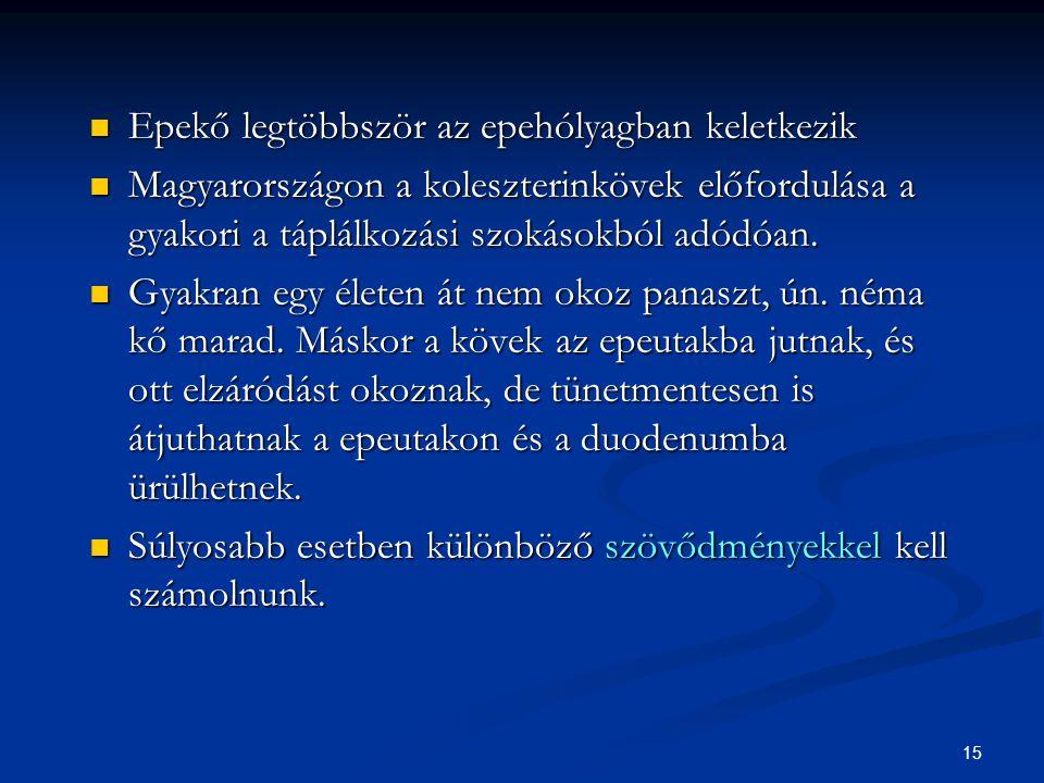 15 Epekő legtöbbször az epehólyagban keletkezik Epekő legtöbbször az epehólyagban keletkezik Magyarországon a koleszterinkövek előfordulása a gyakori