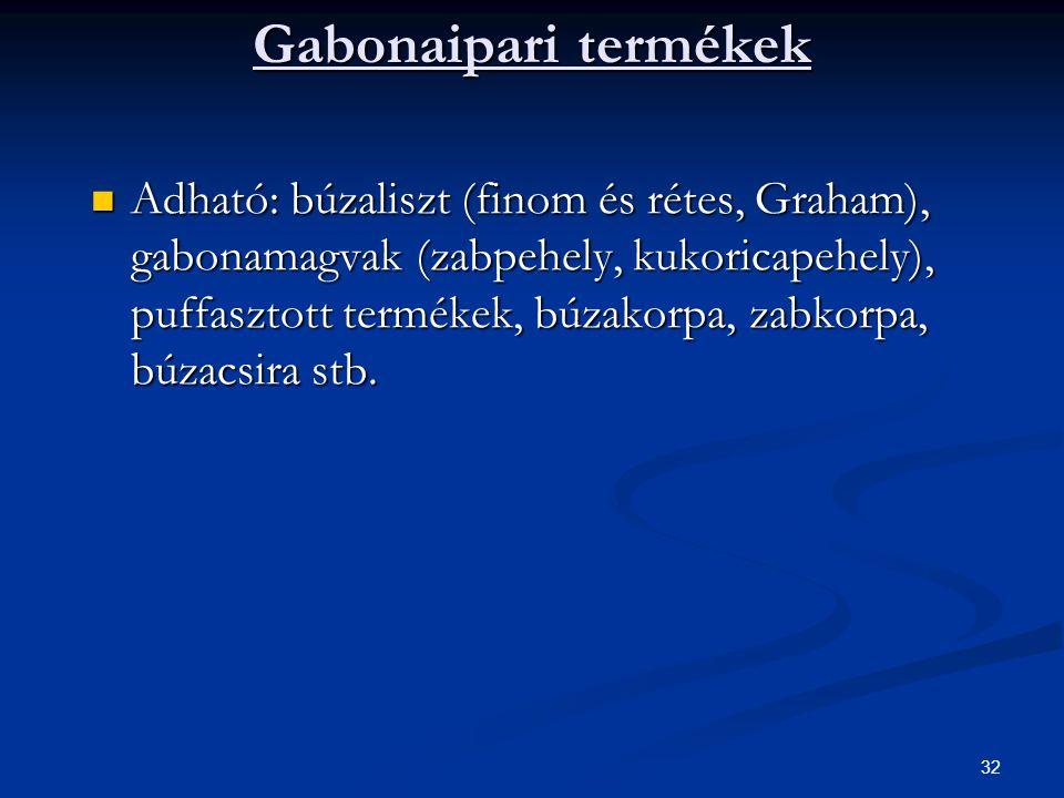 32 Gabonaipari termékek Adható: búzaliszt (finom és rétes, Graham), gabonamagvak (zabpehely, kukoricapehely), puffasztott termékek, búzakorpa, zabkorp