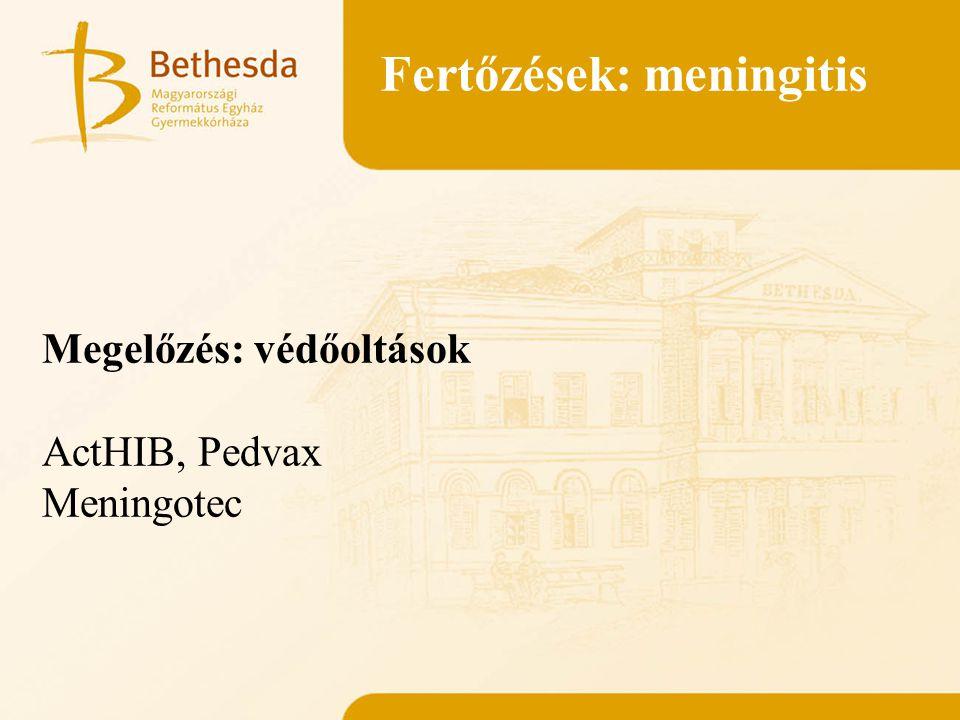 Fertőzések: meningitis Megelőzés: védőoltások ActHIB, Pedvax Meningotec