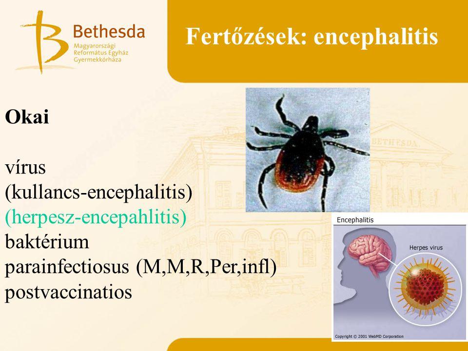 Fertőzések: encephalitis Okai vírus (kullancs-encephalitis) (herpesz-encepahlitis) baktérium parainfectiosus (M,M,R,Per,infl) postvaccinatios
