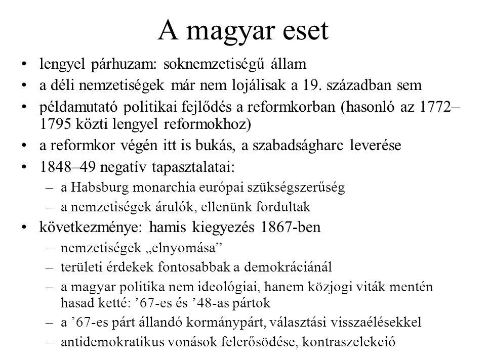 A magyar eset lengyel párhuzam: soknemzetiségű állam a déli nemzetiségek már nem lojálisak a 19. században sem példamutató politikai fejlődés a reform