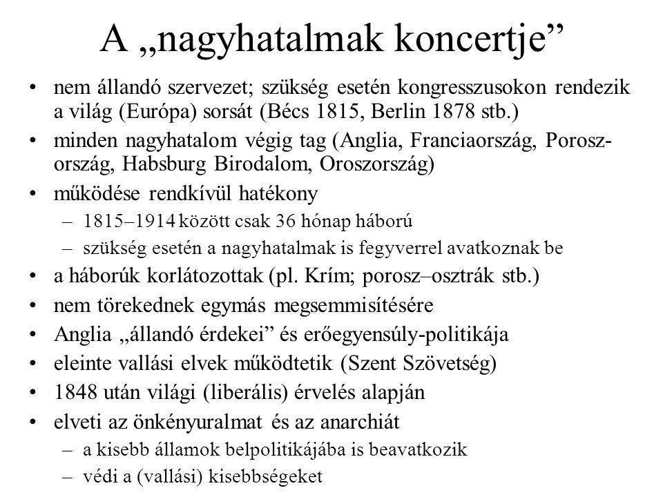 """A """"nagyhatalmak koncertje"""" nem állandó szervezet; szükség esetén kongresszusokon rendezik a világ (Európa) sorsát (Bécs 1815, Berlin 1878 stb.) minden"""