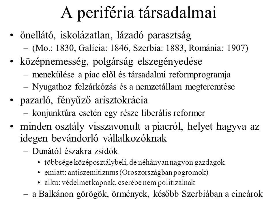 A periféria társadalmai önellátó, iskolázatlan, lázadó parasztság –(Mo.: 1830, Galícia: 1846, Szerbia: 1883, Románia: 1907) középnemesség, polgárság e