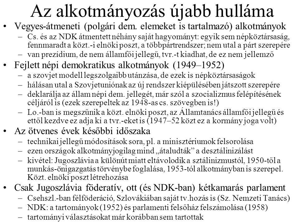 Az alkotmányozás újabb hulláma Vegyes-átmeneti (polgári dem. elemeket is tartalmazó) alkotmányok –Cs. és az NDK átmentett néhány saját hagyományt: egy