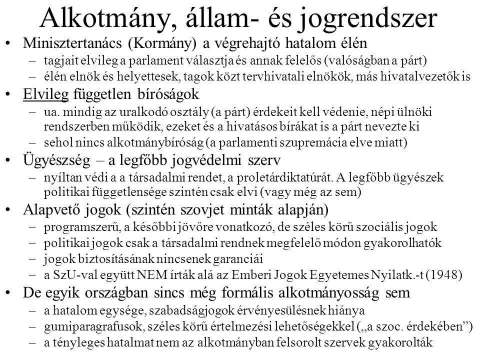 Alkotmány, állam- és jogrendszer Minisztertanács (Kormány) a végrehajtó hatalom élén –tagjait elvileg a parlament választja és annak felelős (valóságb