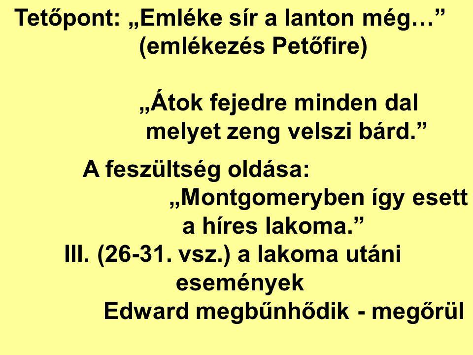 """A feszültség oldása: """"Montgomeryben így esett a híres lakoma."""" III. (26-31. vsz.) a lakoma utáni események Edward megbűnhődik - megőrül Tetőpont: """"Eml"""