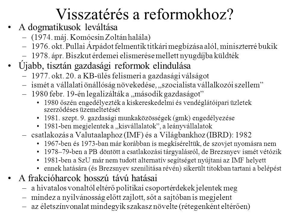 Visszatérés a reformokhoz? A dogmatikusok leváltása –(1974. máj. Komócsin Zoltán halála) –1976. okt. Pullai Árpádot felmentik titkári megbízása alól,
