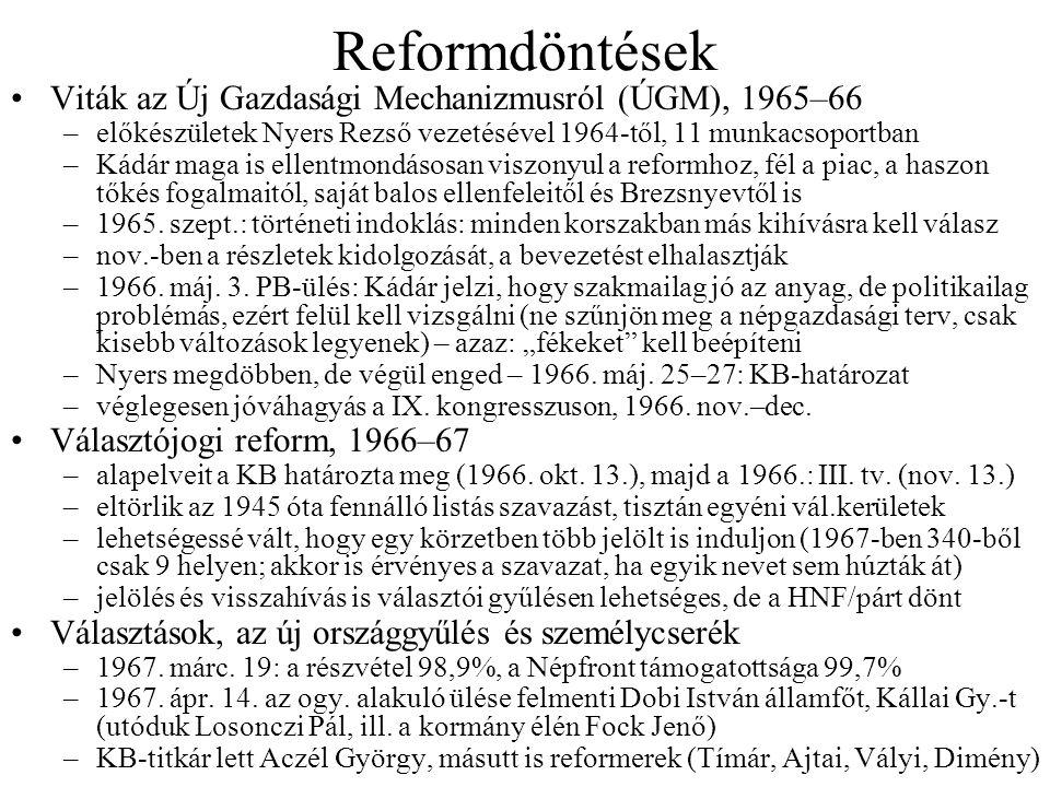 Reformdöntések Viták az Új Gazdasági Mechanizmusról (ÚGM), 1965–66 –előkészületek Nyers Rezső vezetésével 1964-től, 11 munkacsoportban –Kádár maga is ellentmondásosan viszonyul a reformhoz, fél a piac, a haszon tőkés fogalmaitól, saját balos ellenfeleitől és Brezsnyevtől is –1965.