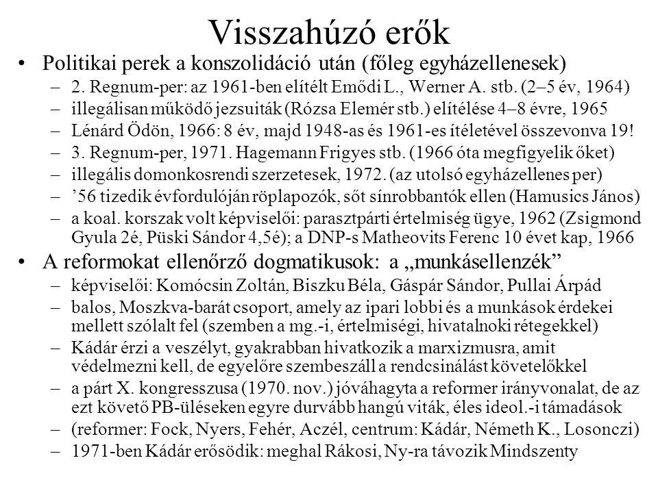 Visszahúzó erők Politikai perek a konszolidáció után (főleg egyházellenesek) –2. Regnum-per: az 1961-ben elítélt Emődi L., Werner A. stb. (2–5 év, 196