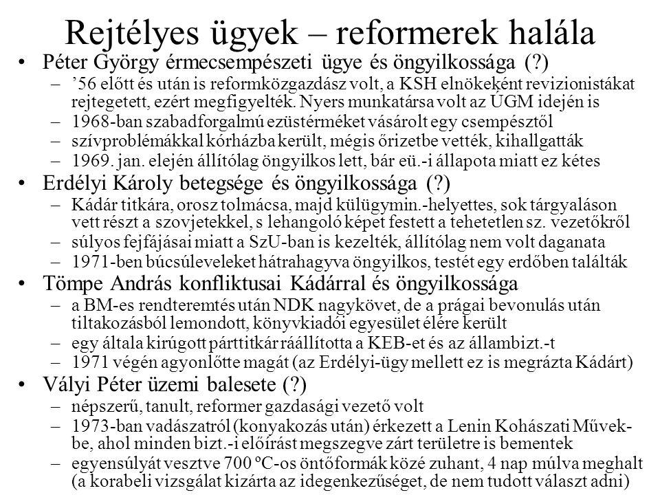 Rejtélyes ügyek – reformerek halála Péter György érmecsempészeti ügye és öngyilkossága (?) –'56 előtt és után is reformközgazdász volt, a KSH elnökeként revizionistákat rejtegetett, ezért megfigyelték.