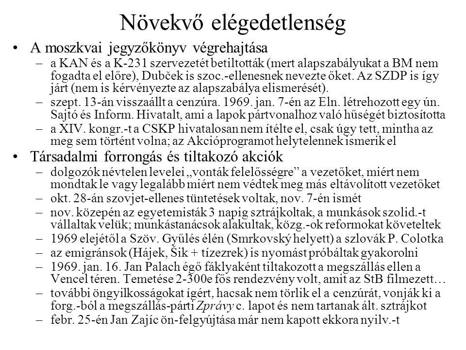 Növekvő elégedetlenség A moszkvai jegyzőkönyv végrehajtása –a KAN és a K-231 szervezetét betiltották (mert alapszabályukat a BM nem fogadta el előre),