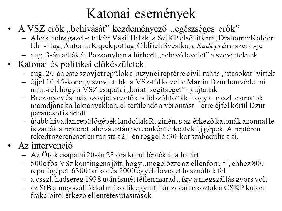 """Katonai események A VSZ erők """"behívását"""" kezdeményező """"egészséges erők"""" –Alois Indra gazd.-i titkár; Vasil Biľak, a SzlKP első titkára; Drahomír Kolde"""
