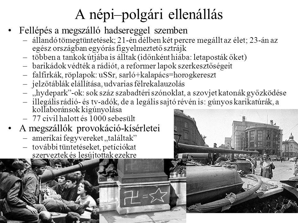 A népi–polgári ellenállás Fellépés a megszálló hadsereggel szemben –állandó tömegtüntetések; 21-én délben két percre megállt az élet; 23-án az egész o