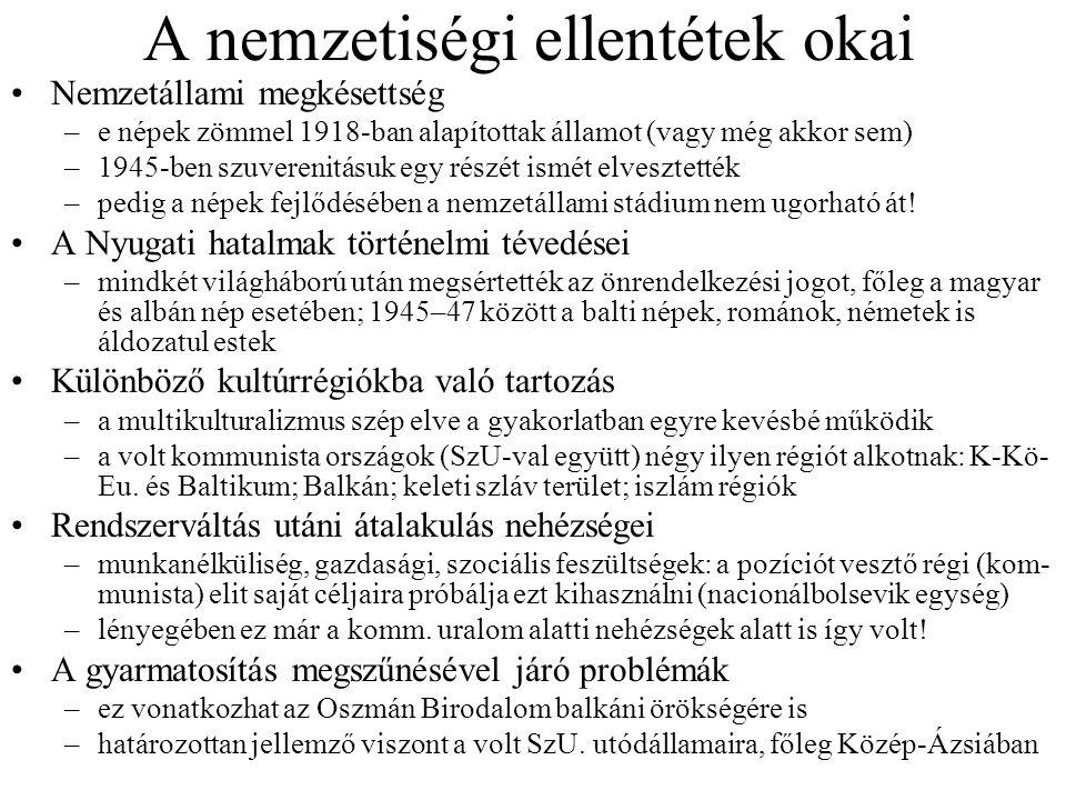 A nemzetiségi ellentétek okai Nemzetállami megkésettség –e népek zömmel 1918-ban alapítottak államot (vagy még akkor sem) –1945-ben szuverenitásuk egy