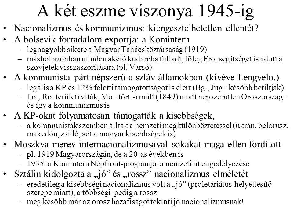 A két eszme viszonya 1945-ig Nacionalizmus és kommunizmus: kiengesztelhetetlen ellentét? A bolsevik forradalom exportja: a Komintern –legnagyobb siker