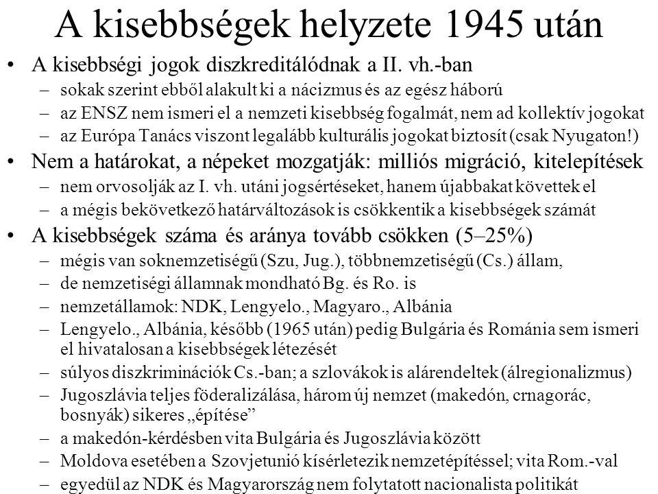 A kisebbségek helyzete 1945 után A kisebbségi jogok diszkreditálódnak a II. vh.-ban –sokak szerint ebből alakult ki a nácizmus és az egész háború –az