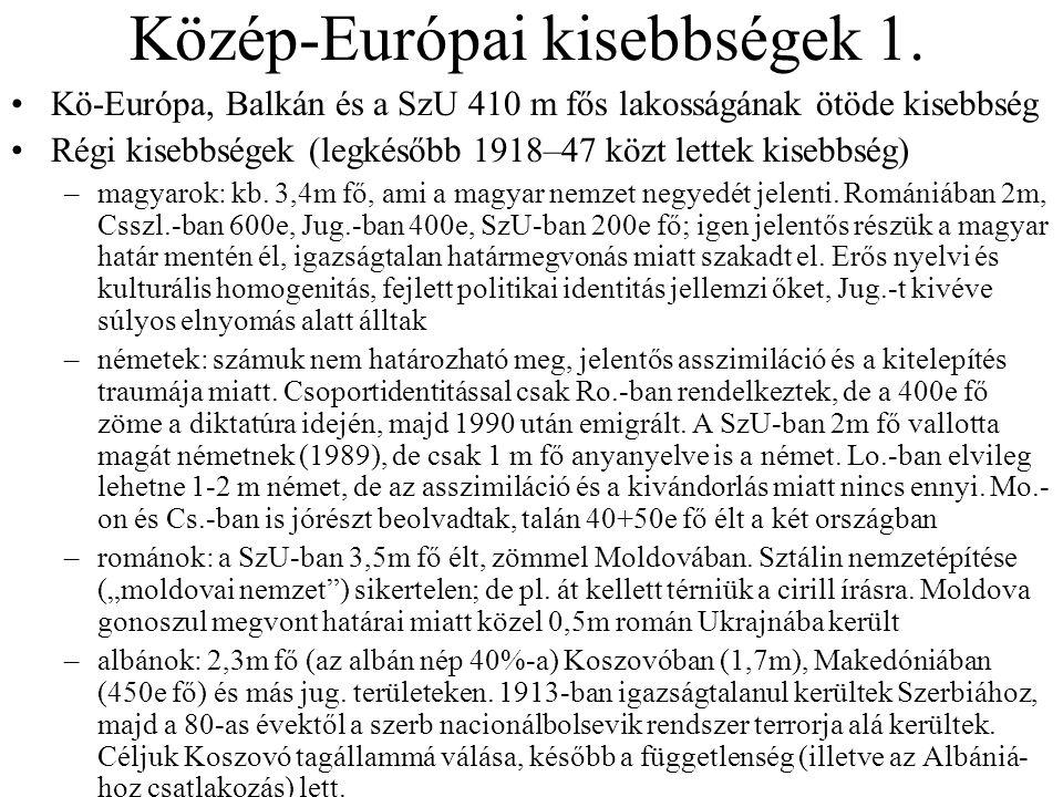 Közép-Európai kisebbségek 1. Kö-Európa, Balkán és a SzU 410 m fős lakosságának ötöde kisebbség Régi kisebbségek (legkésőbb 1918–47 közt lettek kisebbs