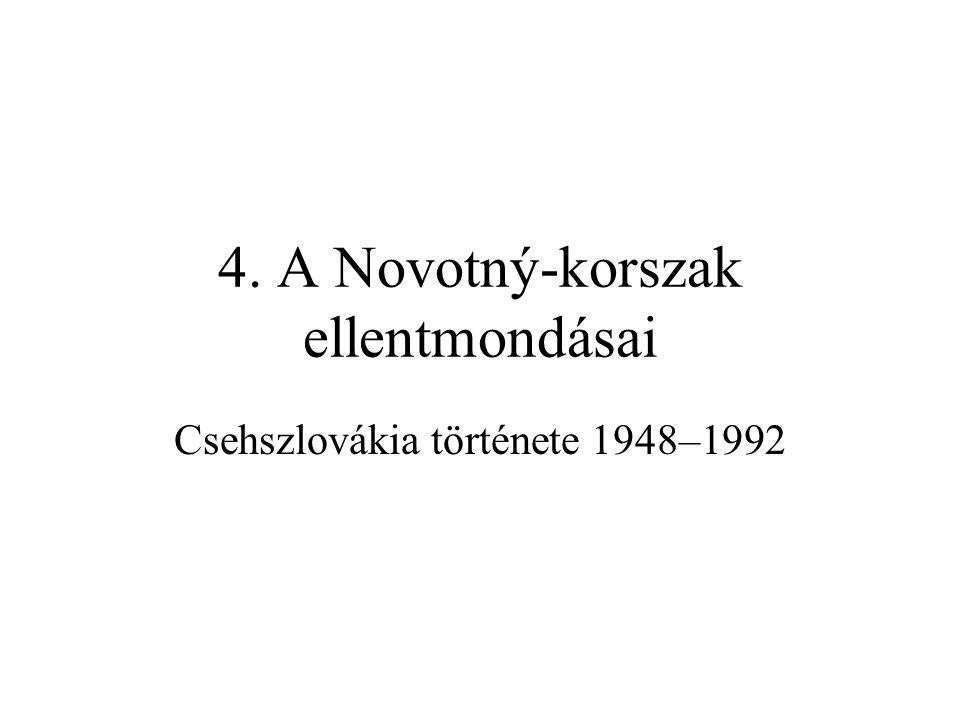 Sztálin és Gottwald halála Két temetés és gyászszertartás 1953 márciusában –Sztálin temetésekor Gottwald Moszkvában, de Prágában is gyászolók a Vencel téren, a beszédeket Zápotocký és Široký mondta el –a beszédek első fele Sztálint dicsérte, a második pedig a kapitalistákat, árulókat, fasisztákat támadta, Široký olyan hisztérikusan, hogy a hangja is elcsuklott.