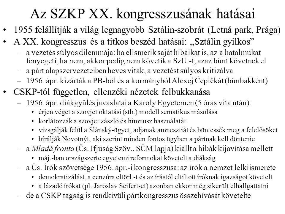 Az ötvenes évek utolsó évei Az erjedés megállítása 1956 második felében –máj.-ban a CSKP bejelentette, hogy vége a vitának a XX.