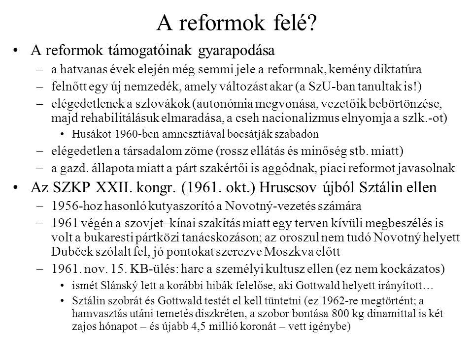 A rehabilitáció akadozása Barák hatalmi aspirációi és (1962 eleji) bukása –Barák (bizottsága eredményeit felhasználva) kísérletet tett Novotný eltáv.-ra –Novotný azonban gyorsabban cselekedett, sikkasztási vádakkal 15 évi börtönre ítélte (egy kiállítást is rendez Barák drága ruháiból, luxuscikkeiből) –ezután a vezetés jelentős részét leváltja, saját és fiatalabb embereivel (pl.