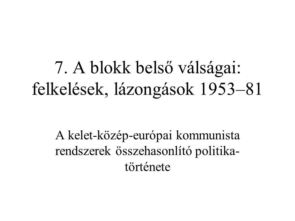 7. A blokk belső válságai: felkelések, lázongások 1953–81 A kelet-közép-európai kommunista rendszerek összehasonlító politika története