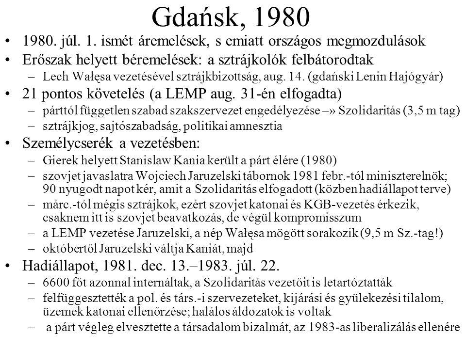 Gdańsk, 1980 1980. júl. 1. ismét áremelések, s emiatt országos megmozdulások Erőszak helyett béremelések: a sztrájkolók felbátorodtak –Lech Wałęsa vez