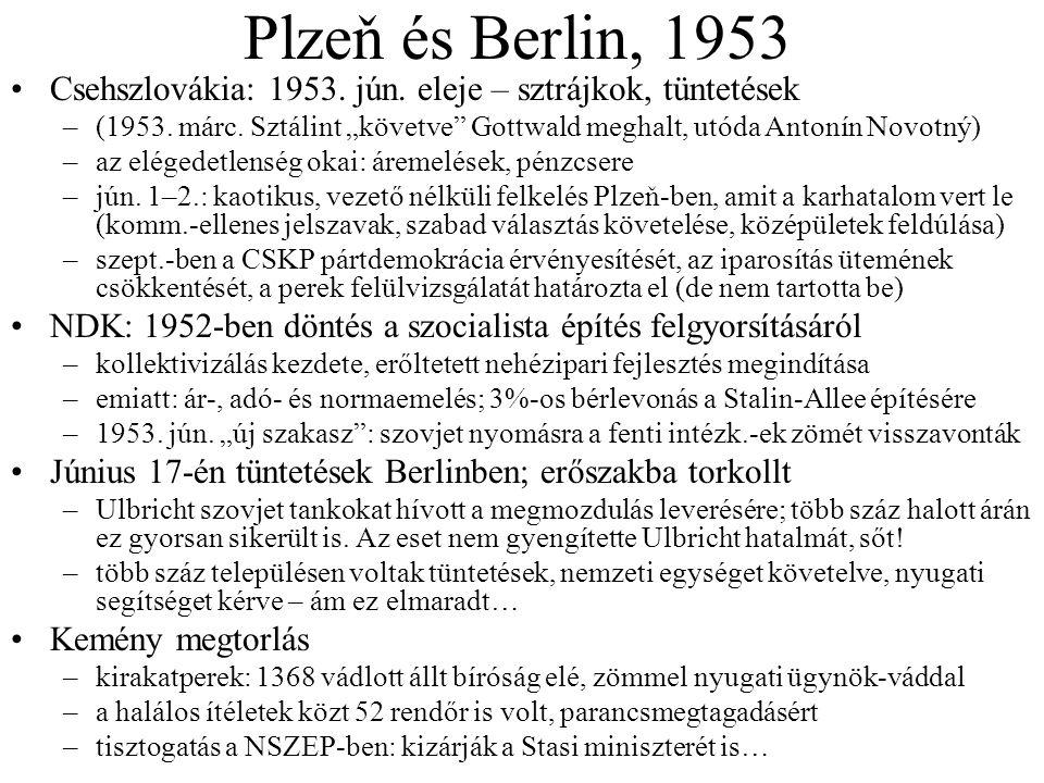 """Plzeň és Berlin, 1953 Csehszlovákia: 1953. jún. eleje – sztrájkok, tüntetések –(1953. márc. Sztálint """"követve"""" Gottwald meghalt, utóda Antonín Novotný"""