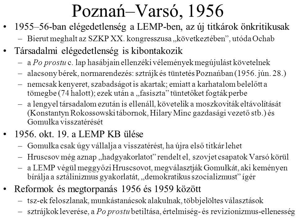 """Poznań–Varsó, 1956 1955–56-ban elégedetlenség a LEMP-ben, az új titkárok önkritikusak –Bierut meghalt az SZKP XX. kongresszusa """"következtében"""", utóda"""