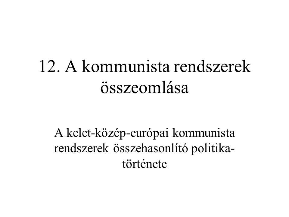 12. A kommunista rendszerek összeomlása A kelet-közép-európai kommunista rendszerek összehasonlító politika története