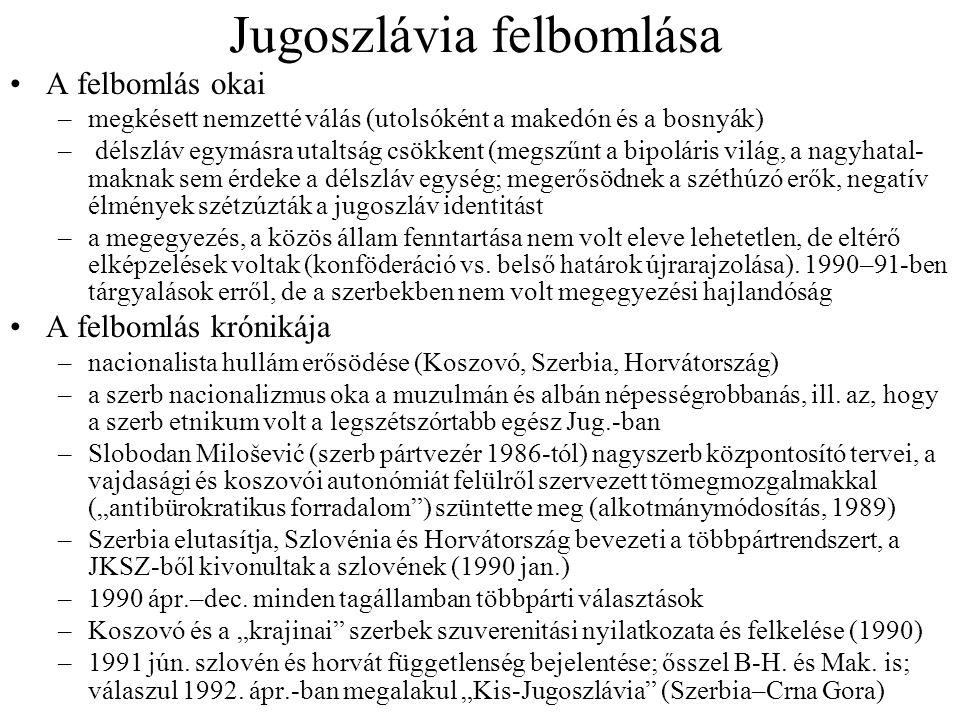 Jugoszlávia felbomlása A felbomlás okai –megkésett nemzetté válás (utolsóként a makedón és a bosnyák) – délszláv egymásra utaltság csökkent (megszűnt