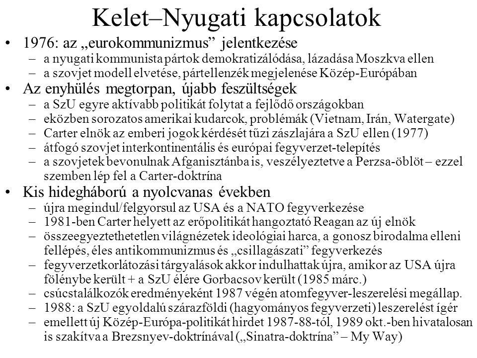 """Kelet–Nyugati kapcsolatok 1976: az """"eurokommunizmus"""" jelentkezése –a nyugati kommunista pártok demokratizálódása, lázadása Moszkva ellen –a szovjet mo"""