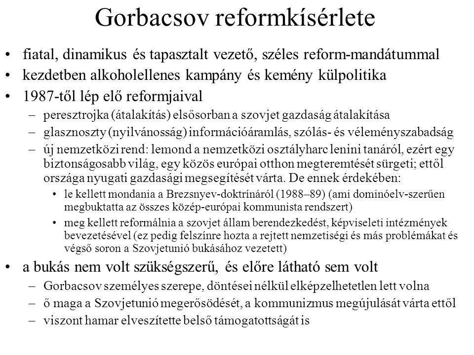 Gorbacsov reformkísérlete fiatal, dinamikus és tapasztalt vezető, széles reform-mandátummal kezdetben alkoholellenes kampány és kemény külpolitika 198