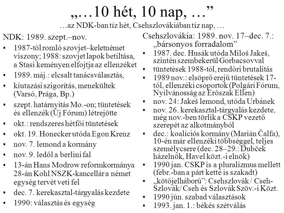 """""""…10 hét, 10 nap, …"""" …az NDK-ban tíz hét, Csehszlovákiában tíz nap, … NDK: 1989. szept.–nov. 1987-től romló szovjet–keletnémet viszony; 1988: szovjet"""