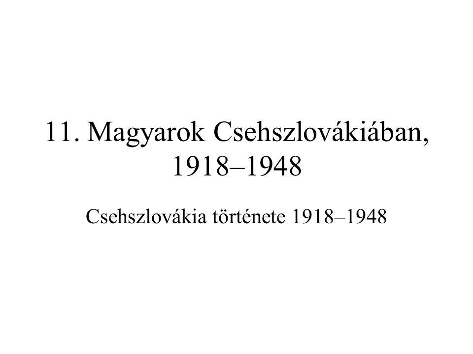 11. Magyarok Csehszlovákiában, 1918–1948 Csehszlovákia története 1918–1948