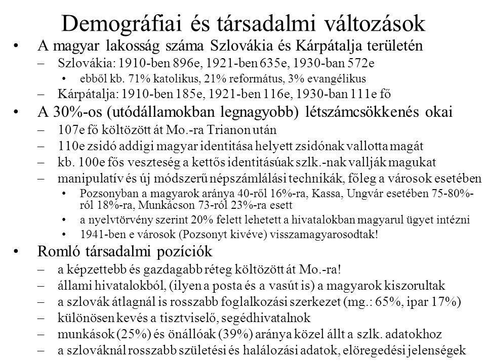Demográfiai és társadalmi változások A magyar lakosság száma Szlovákia és Kárpátalja területén –Szlovákia: 1910-ben 896e, 1921-ben 635e, 1930-ban 572e
