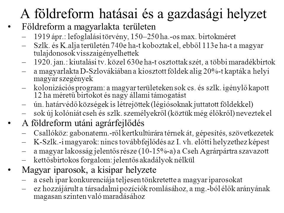 A földreform hatásai és a gazdasági helyzet Földreform a magyarlakta területen –1919 ápr.: lefoglalási törvény, 150–250 ha.-os max. birtokméret –Szlk.