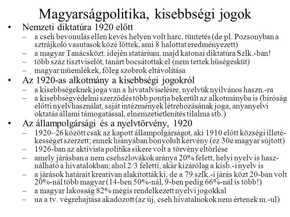 Szlovákiai magyar politika Háromosztatú magyar politikai élet –jobboldali, nemzeti, ellenzéki erők (legnépesebb bázissal), benne a katolikus Országos Keresztényszociális Párt (1932-ig Szüllő Géza) a református Magyar Nemzeti Párt (Szent-Ivány József) 1936-ban egyesül: Egységes Magyar Párt (Jaross Andor, Esterházy János) ezt a csoportot támogatja Budapest is –baloldali erők, főleg a CSKP-ban (a magyarok 20-25%-a erre szavazott) Major István a pártvezetés tagja, fellép a nemzeti önrendelkezés mellett is –aktivista politika, kis támogatottsággal (cseh pártokon belül) Képviselőházi választási eredmények –1920: 5 ker.szoc.